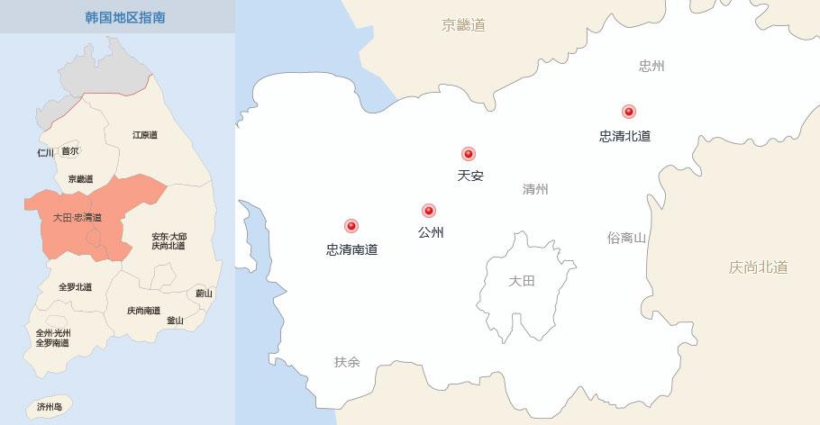 大田中文地图_大田旅游景点_地区指南-韩游网